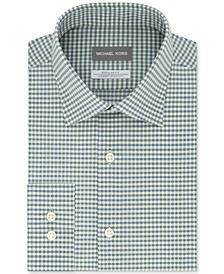 Men's Classic/Regular-Fit Airsoft Stretch Performance Non-Iron Green Check Dress Shirt