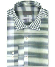 Michael Kors Men's Classic/Regular-Fit Airsoft Stretch Performance Non-Iron Green Check Dress Shirt