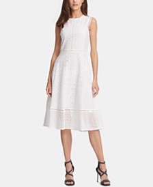 DKNY Cotton Eyelet-Lace Dress