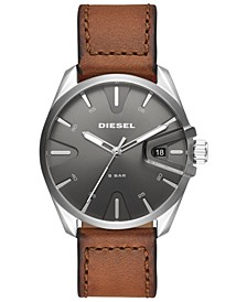 Men's MS9 Brown Leather Strap Watch 44mm