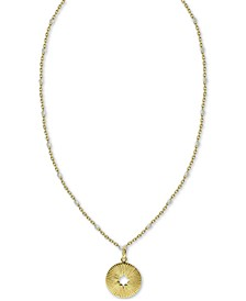 "Cut-Out Circle Beaded Chain 18"" Pendant Necklace in Gold-Plated Sterling Silver"