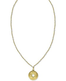 "Argento Vivo Cut-Out Circle Beaded Chain 18"" Pendant Necklace in Gold-Plated Sterling Silver"