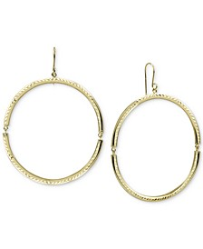 Open Circle Drop Earrings in Gold-Plated Sterling Silver