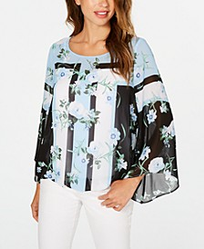 Petite Printed Angel-Sleeve Blouse, Created for Macy's