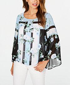 Alfani Petite Printed Angel-Sleeve Blouse, Created for Macy's
