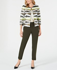 Kasper Open-Front Jacquard Jacket & Cuffed Ankle Pants