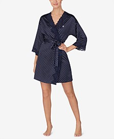 Lace-Trim Satin Wrap Robe