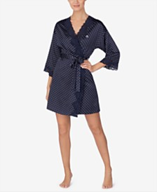 Lauren Ralph Lauren Lace-Trim Satin Wrap Robe