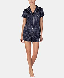 Satin Top & Boxer Shorts Pajama Set