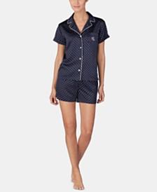 Lauren Ralph Lauren Satin Top & Boxer Shorts Pajama Set
