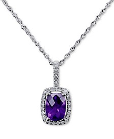 """Amethyst (3/4 ct. t.w.) & Diamond (1/10 ct. t.w.) 18"""" Pendant Necklace in 14k White Gold"""