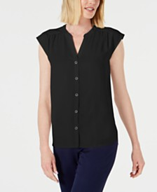 Anne Klein Shirred-Seam Button-Up Blouse