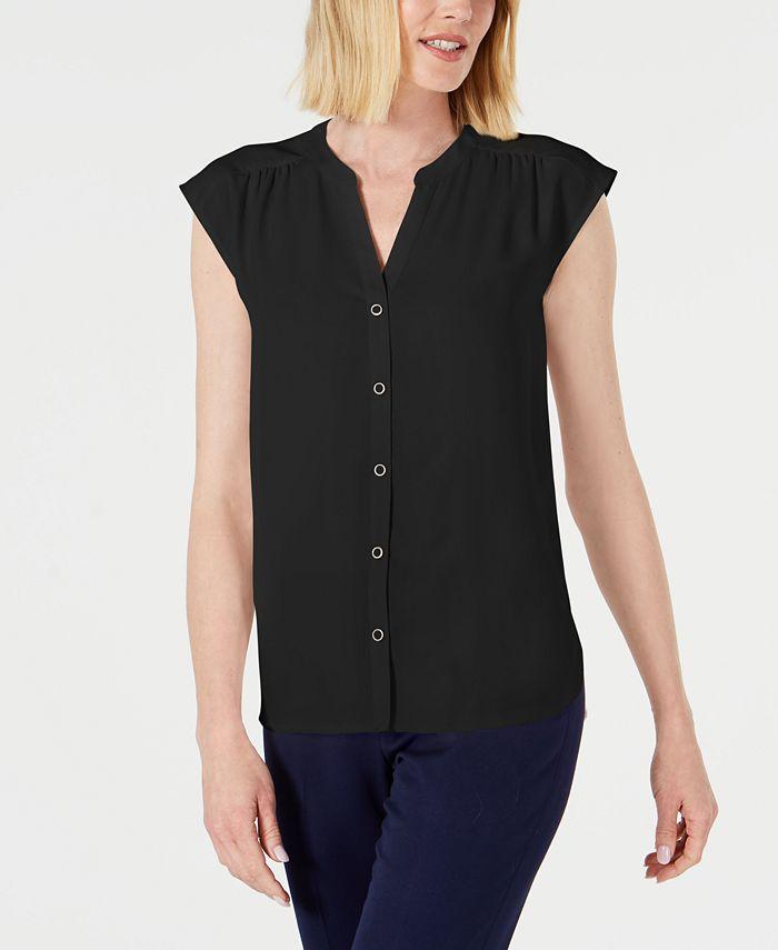 Anne Klein - Shirred-Seam Button-Up Blouse