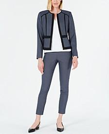 Geo-Print Jacket, Textured Top & Slim-Leg Ankle Pants
