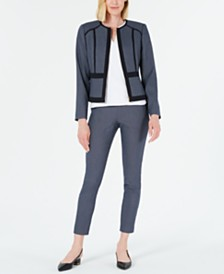 Calvin Klein Geo-Print Jacket, Textured Top & Slim-Leg Ankle Pants