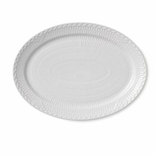 Royal Copenhagn White Fluted Half Lace Oval Plate