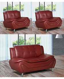 US Furnishings Express Rory Collection Faux Leather Loveseat and Chair Set, 3 Piece