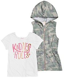 Belle Du Jour Big Girls 2-Pc. Hooded Camo-Print Vest & Kindness-Print T-Shirt Set