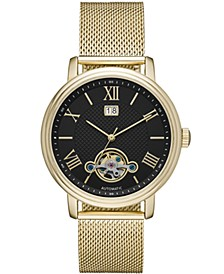 Mens Gold Mesh Automatic Watch 42mm