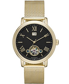 Folio Mens Gold Mesh Automatic Watch 42mm