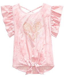 Big Girls Heart-Print Tie-Front Top