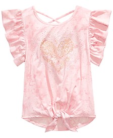 Beautees Big Girls Heart-Print Tie-Front Top