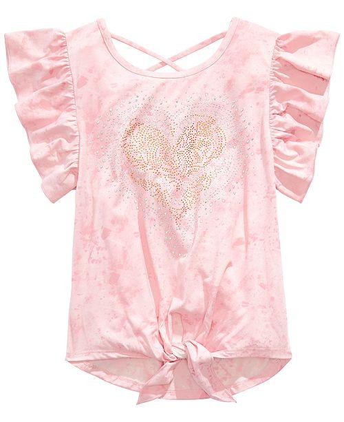 Beautees Big Girls Heart-Print Tie-Front Top