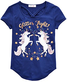 Big Girls Flip Sequin Unicorn-Print Top