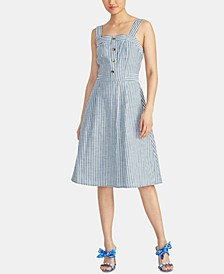 Rylnne Cotton Striped Button-Front Dress