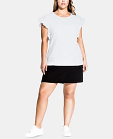 City Chic Trendy Plus Size Cotton Ruffled Top