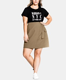 City Chic Trendy Plus Size Cotton Wrap Skirt