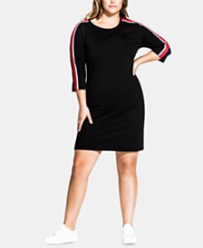 City Chic Trendy Plus Size Stripe-Sleeve Tunic Dress