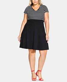 City Chic Trendy Plus Size Sailor Stripe A-Line Dress