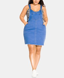 City Chic Trendy Plus Size Denim Pinafore Dress