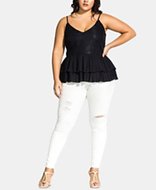 City Chic Trendy Plus Size Lace Double-Layer Top