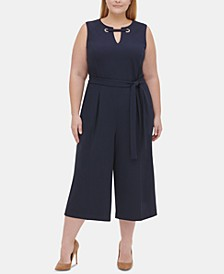Plus Size Embellished Cropped Jumpsuit