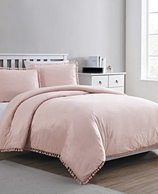 Giselle Embossed Velvet Tassel 3-Pc. King Duvet Cover Set