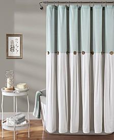 """Linen Button 72"""" x 72"""" Shower Curtain"""