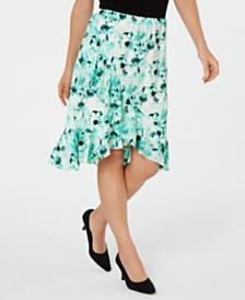 Kasper Floral Printed Tulip-Hem Skirt