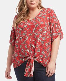 Karen Kane Plus Size Printed Tie-Hem Top