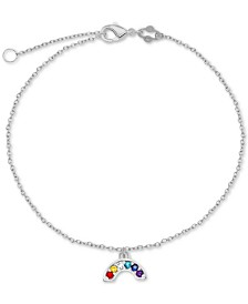 Cubic Zirconia Rainbow Charm Chain Ankle Bracelet in Sterling Silver