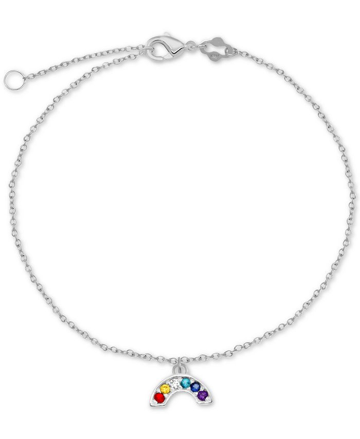 """Macy's - Cubic Zirconia Rainbow Charm Chain Ankle Bracelet in Sterling Silver, 9"""" + 1"""" Extender"""