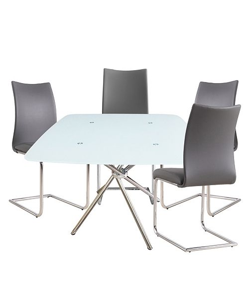 Square 36 Bistro Dining Table With Leatherette Chair Collection Set Of 5 Pieces
