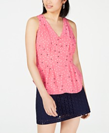 Maison Jules Printed Pintucked Top, Created for Macy's