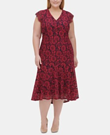 Tommy Hilfiger Plus Size Floral Lace Midi Dress