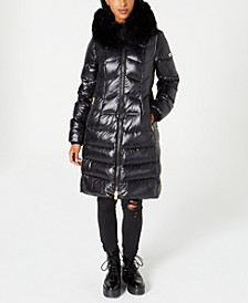 Fox-Fur-Collar Down Puffer Coat