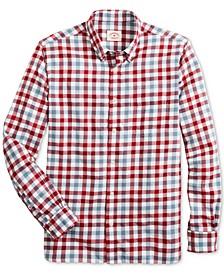 Men's Red Fleece Twill Gingham Shirt