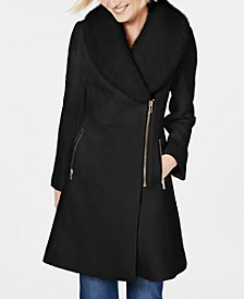 INC Faux-Fur-Trim Asymmetrical Walker Coat, Created for Macy's
