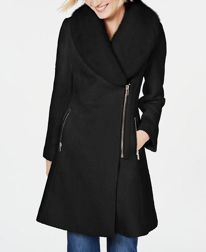INC International Concepts INC Faux-Fur-Trim Asymmetrical Walker Coat, Created for Macy's
