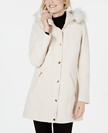 I.N.C. Faux-Fur-Trim Hooded Coat, Created for Macys